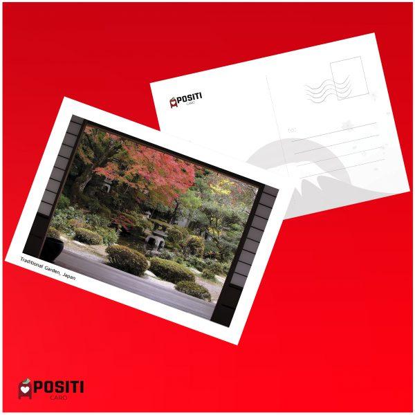 Japanese traditional garden postcard